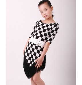 Black and white square printed plaid round neck backless fringes girls kids child children toddlers baby  gymnastics growth salsa cha cha rumba samba latin dance dresses with sashes