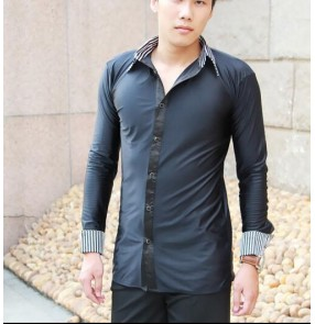 Black and white striped collar and cuffs blacked colored mens men's mans male long sleeves turn down collar competition practice professional competition latin salsa tango ballroom waltz jive dance shirts tops