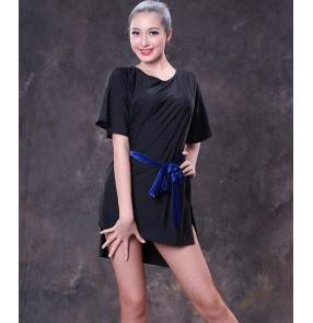 Black back with diamond short sleeves loose style women's competition performance latin ballroom dance tops dresses with sashes