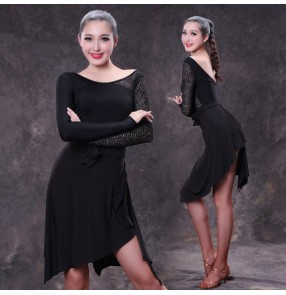 Black backless long lace sleeves stage performance competition professional women's ladies sexy fashion leotards latin ballroom dance outfits skirts costumes