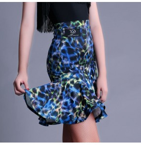 Black blue leopard printed floral side split ruffles hem women's ladies performance competition latin salsa cha cha dance skirts