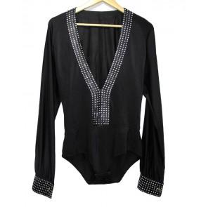 Black Boy's diamonded cuff and collar v nevk  latin waltz dance shirt dance tops