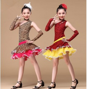 Black brown leopard printed girls kids child children toddler growth competition professional practice one inclined shoulder latin salsa cha cha rumba dance dresses with gloves