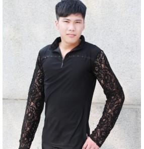 Black colored  lace  long sleeves turn down collar mens men's mans male competition practice latin dance waltz ballroom tango dance tops shirts
