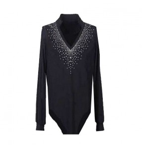 Black colored male mans men's mens competition professional v neck long sleeves diamond standard latin samba waltz tango ballroom dance body leotard tops and  shirts