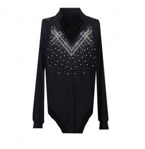 Black colored male mens mans men's long sleeves v neck stand collar rhinestones competition professional latin dance shirts tops