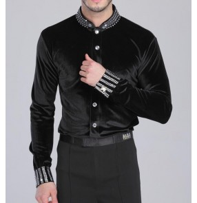 Black colored Men's thick velvet latin dance  leotard body shirts long sleeves modern dancing tops