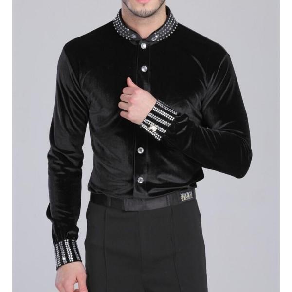 a99be3a654d718 Black colored Men s thick velvet latin dance leotard body shirts long  sleeves modern dancing tops