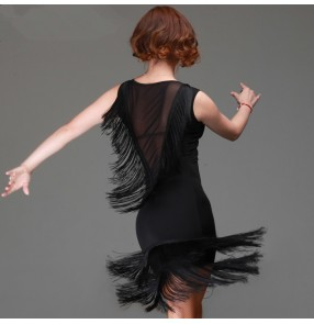Black colored round neck v neck see through tulle back tassels sleeveless women's female ladies competition professional latin samba salsa cha cha dance rumba dance  dresses