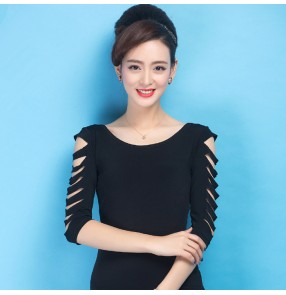 Black colored short  hollow sleeves women's ladies female competition professional latin ballroom dance tops only