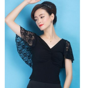 Black colored women's ladies female competition professional cap sleeves lace back v neck sexy latin ballroom tango waltz dance tops only