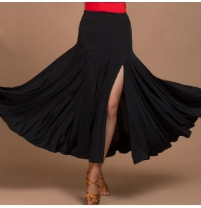 Black colored women's ladies female competition swing hem side split standard ballroom waltz tango dance skirts( only skirt with shorts)