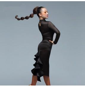 Black colored women's ladies female lace see through sexy fashion competition professional turtle neck back split skirt hem long sleeves latin samba salsa cha cha dance dresses