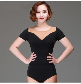 Black flesh fabric patchwork short sleeves v neck women's ladies competition performance professional sexy fashion ballroom latin leotards bodysuits jumpsuits tops