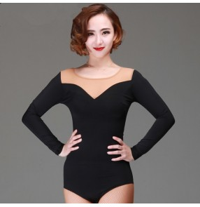 Black flesh mesh patchwork long sleeves v neck fashion sexy women's competition performance gymnastics latin ballroom cha cha dancing tops leotards bodysuits