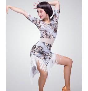 Black floral flower printed short sleeves round neck short sleeves fringes hem side split women's ladies female competition performance professional latin salsa samba dance dresses outfits