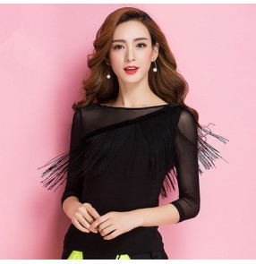 Black fringes mesh see through long sleeves women's competition performance latin ballroom salsa cha cha dance tops blouses