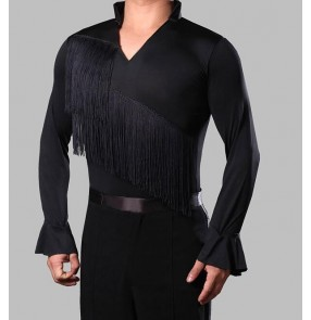 Black fringes tassels front v neck fashion men's male adult kids boys children long sleeves leotard latin ballroom tango waltz flamenco dance shirts tops for mens