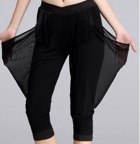 Black fringes women's ladies female fashion short knee length performance practice latin salsa cha cha rumba samba dance harem pants trousers