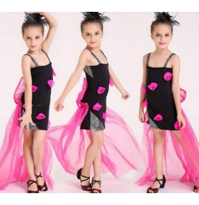 Black fuchsia patchwork colored girls kids child children strap backless with long tulle fabric tail modern dance stage performance jazz dj ds singer dance costumes dresses set