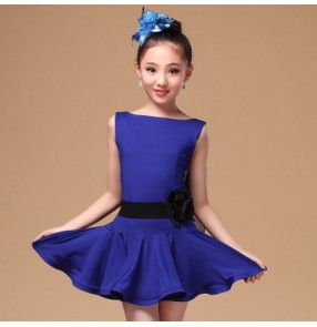 Black fuchsia royal blue colored girls kids child children sleeveless backless with sashes competition professional latin samba salsa cha cha dance dresses