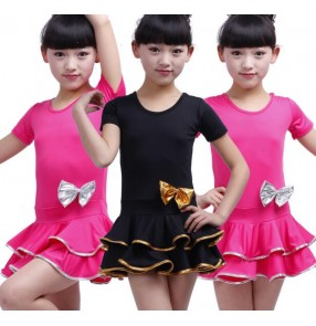 Black fuchsia short sleeves girls kids child children toddlers baby practice  gymnastics competition professional latin salsa cha cha dance dresses
