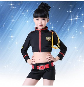 Black girls kids children baby stage performance school play jazz dj hip hop singer cos play dance costumes outfits