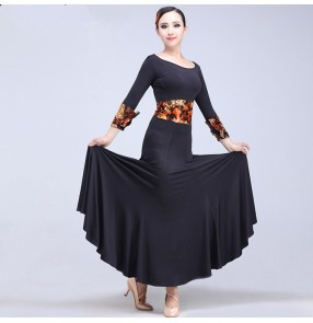 Black gold floral patchwork long sleeves women's ladies spandex competition performance professional ballroom tango waltz flamenco dance dresses costumes