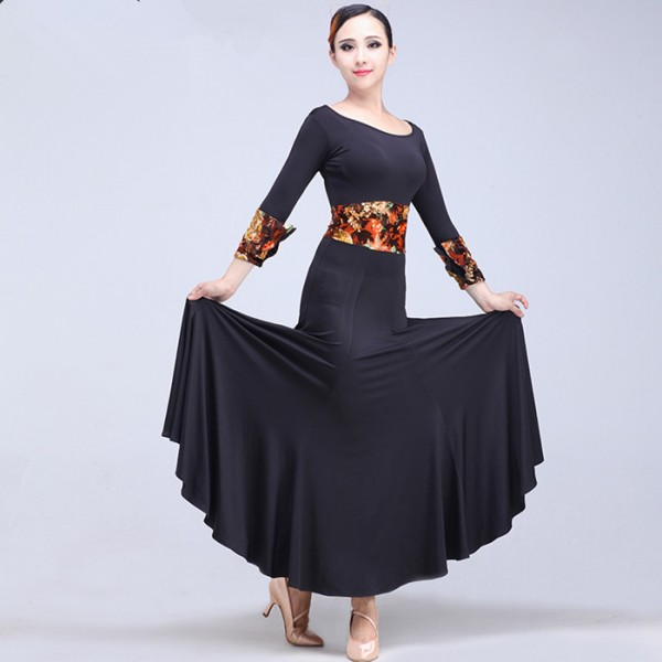 573ad51f88e76 Black gold floral patchwork long sleeves women's ladies spandex competition  performance professional ballroom tango waltz flamenco dance dresses  costumes