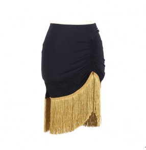 Black gold fringes tassels patchwork side split short length women's ladies female competition performance latin samba salsa dance skirts