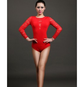 Black green fuchsia red lace patchwork colored round neck women's ladies female womens long lace sleeves  competition professional practice gymnastics latin leotard tops bodysuits catsuit