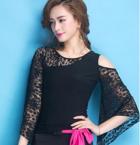 Black Lace hollow long sleeves sexy fashion women's ladies stage performance competition ballroom latin salsa samba dance tops blouses