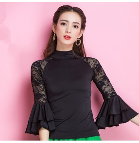 Black lace patchwork long flare sleeves women's sexy fashion turtle neck competition professional latin ballroom dance tops shirts blouses