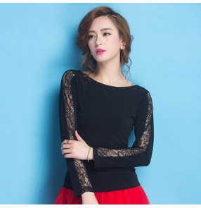 Black lace patchwork round neck women's ladies female competition performance ballroom latin salsa cha cha dance tops