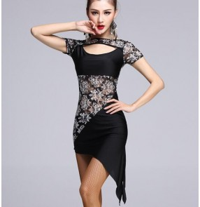 Black lace patchwork see through sexy fashionable ladies womens women's female competition professional latin samba salsa cha cha dance dresses