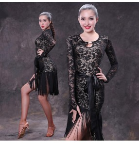 Black lace patchwork tassels fringes long sleeves side split women's ladies female competition performance professional latin ballroom dance dresses outfits