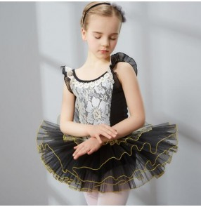 Black lace pink white lace patchwork short sleeves girls kids child children toddlers gymnastics practice competition professional tutu ballet skirt ballet dance costumes dresses
