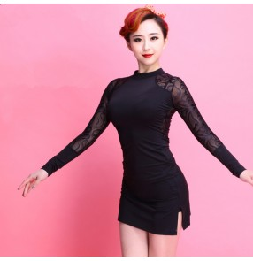 Black lace see through sexy  long sleeves turtle neck two ways wearing women's ladies competition performance professional latin ballroom dance tops blouses shirts