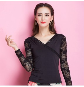 Black lace v neck long sleeves patchwork women's adult competition performance ballroom tango latin waltz dancing tops blouses