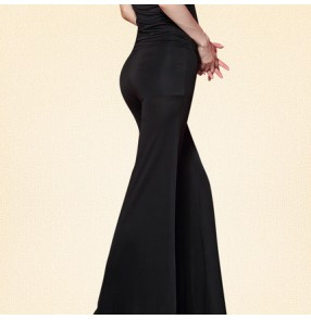 Black leopard printed long length high waist fashion sexy women's ladies competition practice stage performance latin ballroom cha cha dance pants trousers