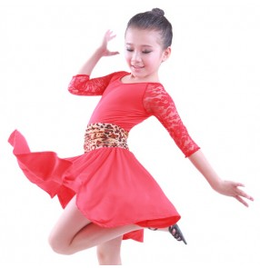 Black leopard red Children Kids Stage Performance Competition Ballroom Dance Costume professional Latin Dance Dress For Girls