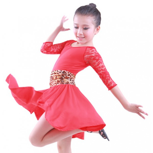 8e2f81ea684 Black leopard red Children Kids Stage Performance Competition Ballroom  Dance Costume professional Latin Dance Dress For Girls
