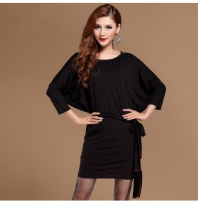 Black leopard Women's ladies female loose bat wing sleeves latin dance dresses