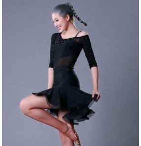 Black mesh middle long sleeves rhinestones women's ladies  diamond competition stage performance latin ballroom dance dresses ouftis