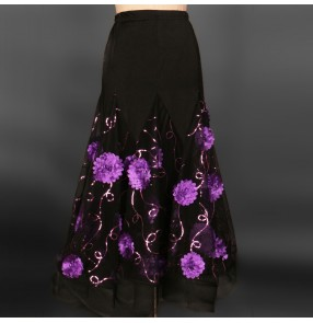 Black Modern dance big hem skirted dress