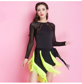Black neon green fringes patchwork long sleeves back hollow fashion women's ladies sexy stage performance competition latin salsa cha cha dance dresses outfits