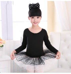 Black polka dot pink long sleeves tutu skirt girls kids children leotards gymnastics school performance competition ballet dance dresses outfits