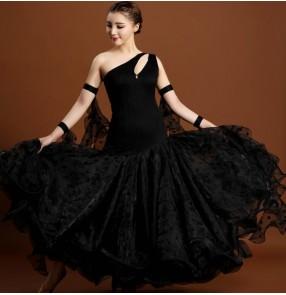 Black polka dot womens women's ladies female one shoulder sleeveless competition professional ballroom swing skirts tango waltz dance dresses