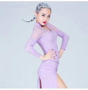 Black purple violet long sleeve v neck mesh see through patchwork women's ladies performance competition latin ballroom dancing tops shirts blouses