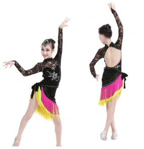 Black rainbow colored girls kids child children long lace sleeves rhinestones competition professional latin dance dresses split set body leotard tops and tassels skirts